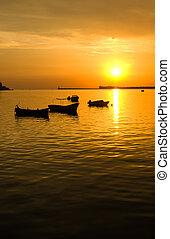barche, silhouette, mare