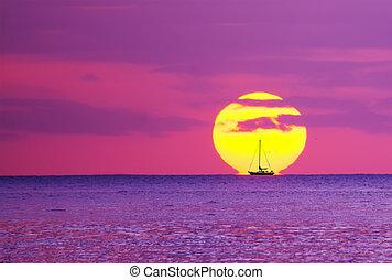 barche, sole, silhouette, contro