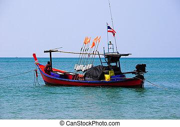 barche, tailandia, sea., pesca