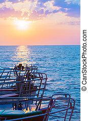 barche, tramonto, mare