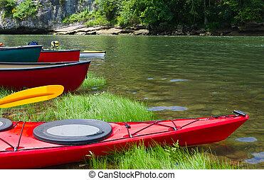 barche, vicino, il, fiume