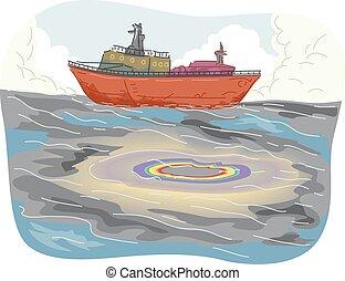 barco, aceite, derramar