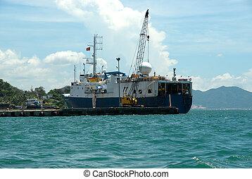 barco, aceite, unión cósmica, vigilancia