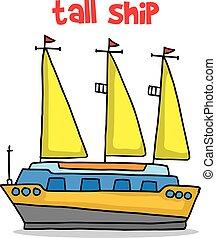 barco alto, caricatura, transporte
