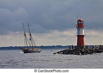 barco alto, en, el, báltico, sea.