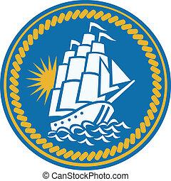 barco alto, galeón, navegación, retro