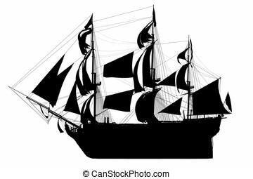 barco alto, silueta, británico