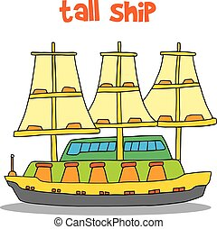 barco alto, vector, arte