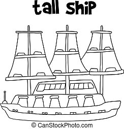 barco alto, vector, transporte
