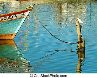 barco,  amarrado
