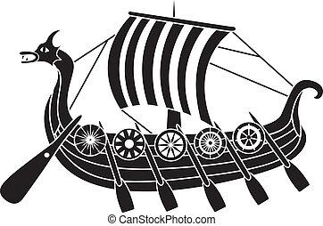 barco, antiguo, protectores, vikings
