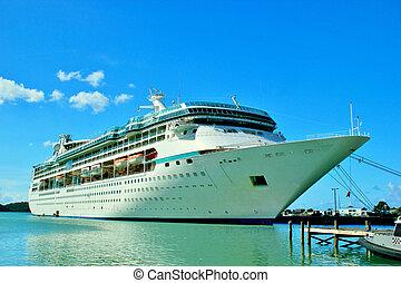 barco, atracó, 4, crucero