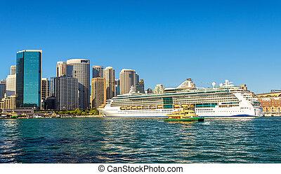 barco, australia, puerto, sydney, crucero