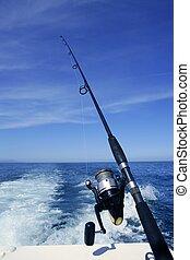 barco azul, vara, pesca oceano, bobina
