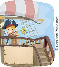 barco, bandera, pirata
