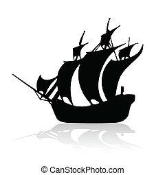 barco, blanco, negro, backroun, pirata