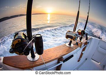 barco, cañasde pescar