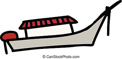 barco, caricatura, icono