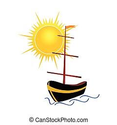 barco, con, sol, vector, ilustración
