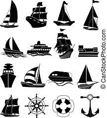 barco, conjunto, barco, iconos