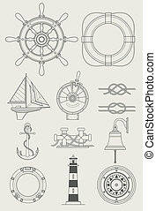 barco, conjunto, mar, icono