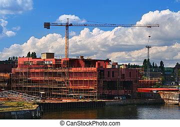 barco, construcción, debajo
