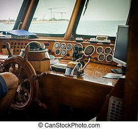 barco, control, puente