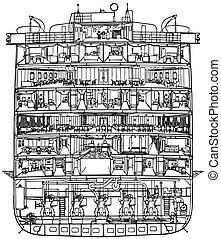 barco, corte, crucero