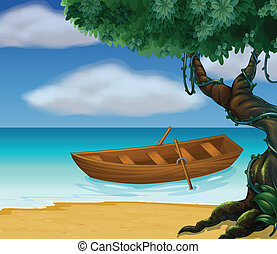 barco de madera, mar