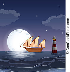 barco de madera, océano