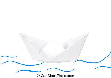 barco de papel, aislado, en, white.