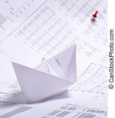 barco de papel, concepto, documentos, empresa / negocio