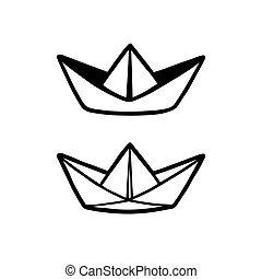 barco de papel, dibujo