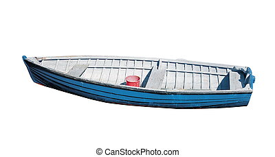 barco de pesca, aislado, blanco