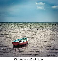 barco de pesca, en, ocaso, time.