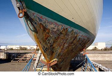 barco de pesca, muelle seco