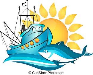 barco de pesca, y, sol