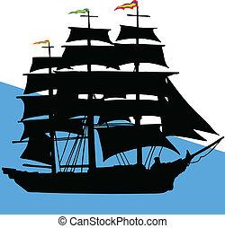 barco, de, piratas, ilustración