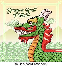 barco, diseño, caricatura, dragón, fiesta