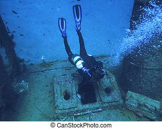 barco, diving., escafandra autónoma, hundido