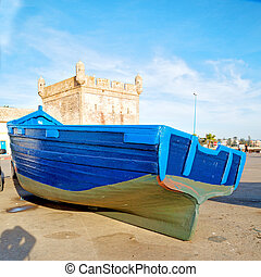 barco, en, áfrica, marruecos, viejo, puerto, madera, y, resumen, muelle
