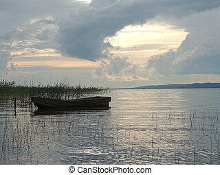 barco, en, el, lago