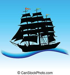 barco, en, el, mar, arte, vector, ilustración