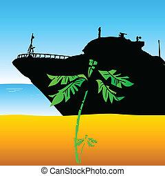 barco, en la playa, ilustración