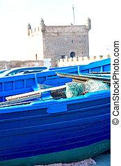 barco, en, marruecos, viejo, puerto, madera, y, resumen, muelle