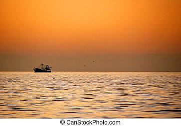 barco, en, océano
