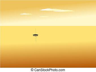 barco, en, ocaso, mar