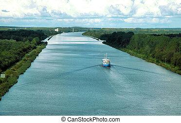 barco, en, río