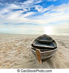 barco, en, salida del sol