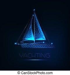 barco, encendido, fondo., futurista, polygonal, aislado, ...